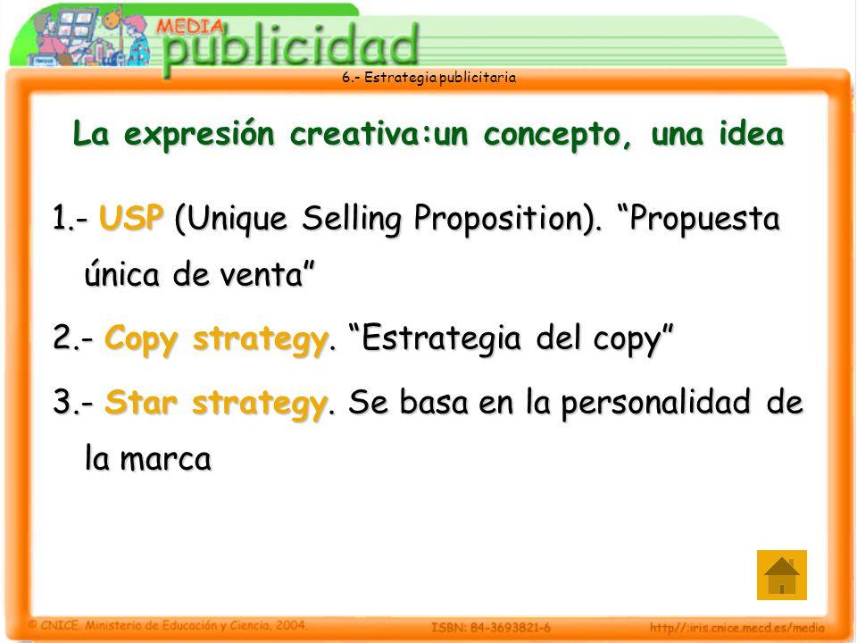 6.- Estrategia publicitaria La expresión creativa:un concepto, una idea 1.- USP (Unique Selling Proposition). Propuesta única de venta 2.- Copy strate