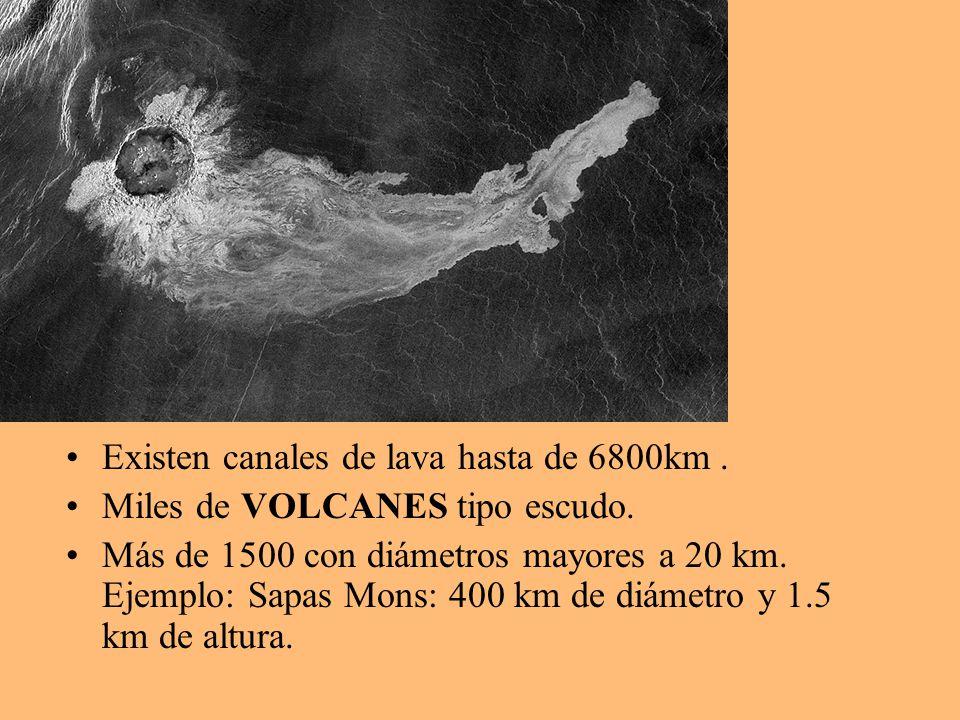 Existen canales de lava hasta de 6800km. Miles de VOLCANES tipo escudo. Más de 1500 con diámetros mayores a 20 km. Ejemplo: Sapas Mons: 400 km de diám