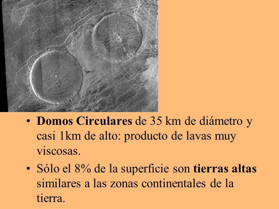 Domos Circulares de 35 km de diámetro y casi 1km de alto: producto de lavas muy viscosas. Sólo el 8% de la superficie son tierras altas similares a la