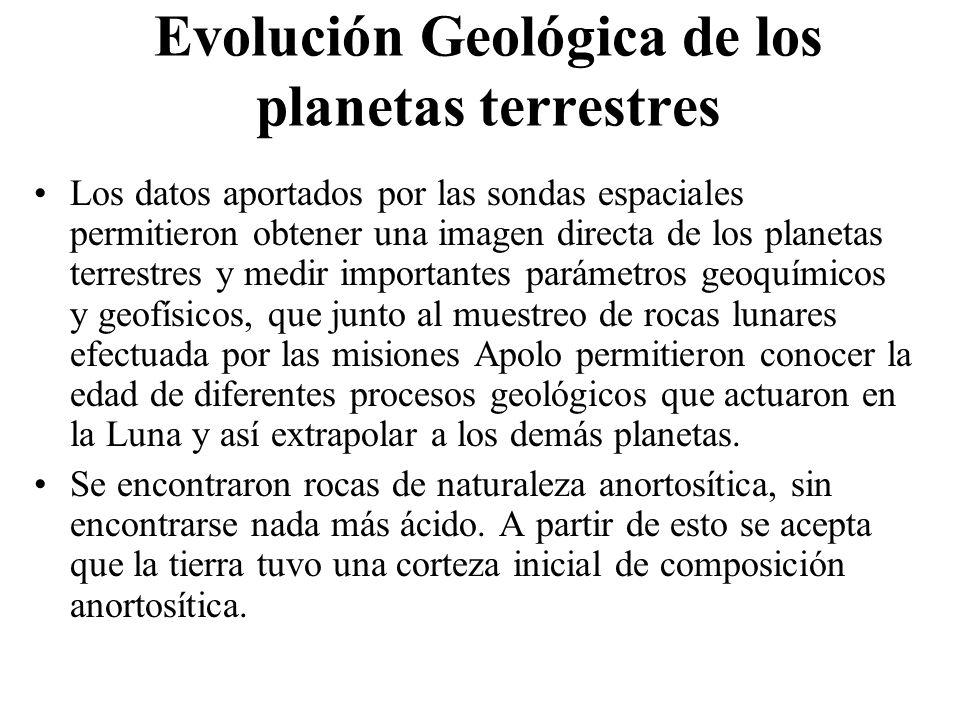 Evolución Geológica de los planetas terrestres Los datos aportados por las sondas espaciales permitieron obtener una imagen directa de los planetas te