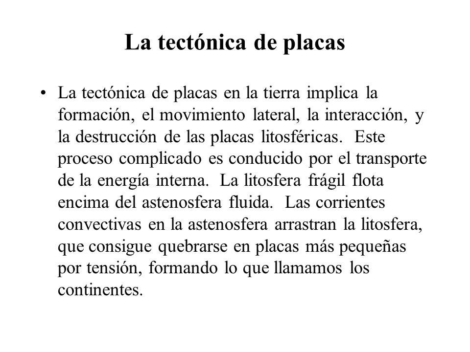 La tectónica de placas La tectónica de placas en la tierra implica la formación, el movimiento lateral, la interacción, y la destrucción de las placas