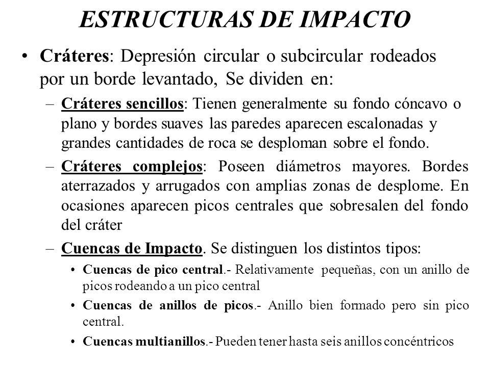 ESTRUCTURAS DE IMPACTO Cráteres: Depresión circular o subcircular rodeados por un borde levantado, Se dividen en: –Cráteres sencillos: Tienen generalm