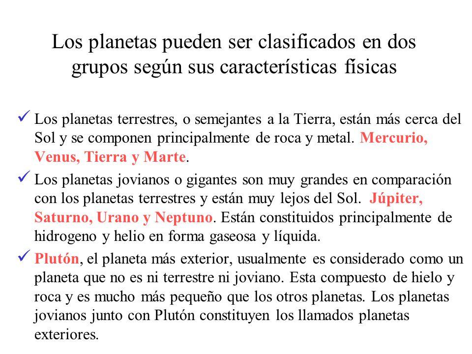 Los planetas pueden ser clasificados en dos grupos según sus características físicas Los planetas terrestres, o semejantes a la Tierra, están más cerc