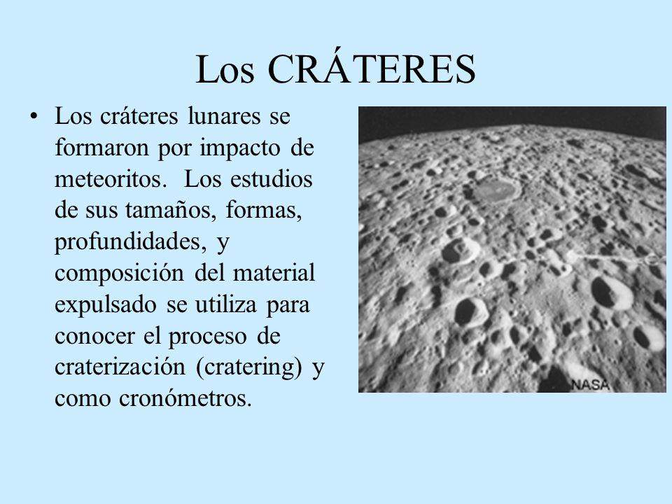 Los CRÁTERES Los cráteres lunares se formaron por impacto de meteoritos. Los estudios de sus tamaños, formas, profundidades, y composición del materia