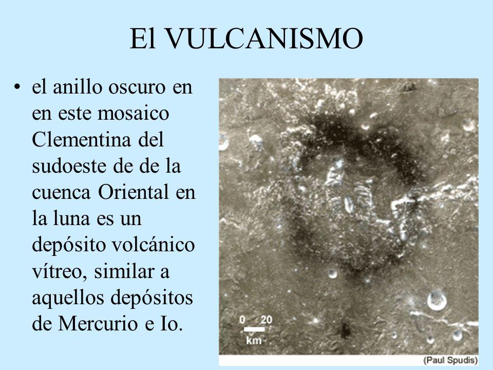 El VULCANISMO el anillo oscuro en en este mosaico Clementina del sudoeste de de la cuenca Oriental en la luna es un depósito volcánico vítreo, similar