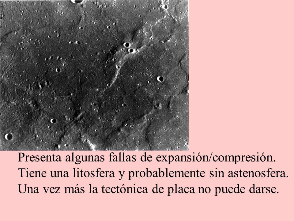Presenta algunas fallas de expansión/compresión. Tiene una litosfera y probablemente sin astenosfera. Una vez más la tectónica de placa no puede darse