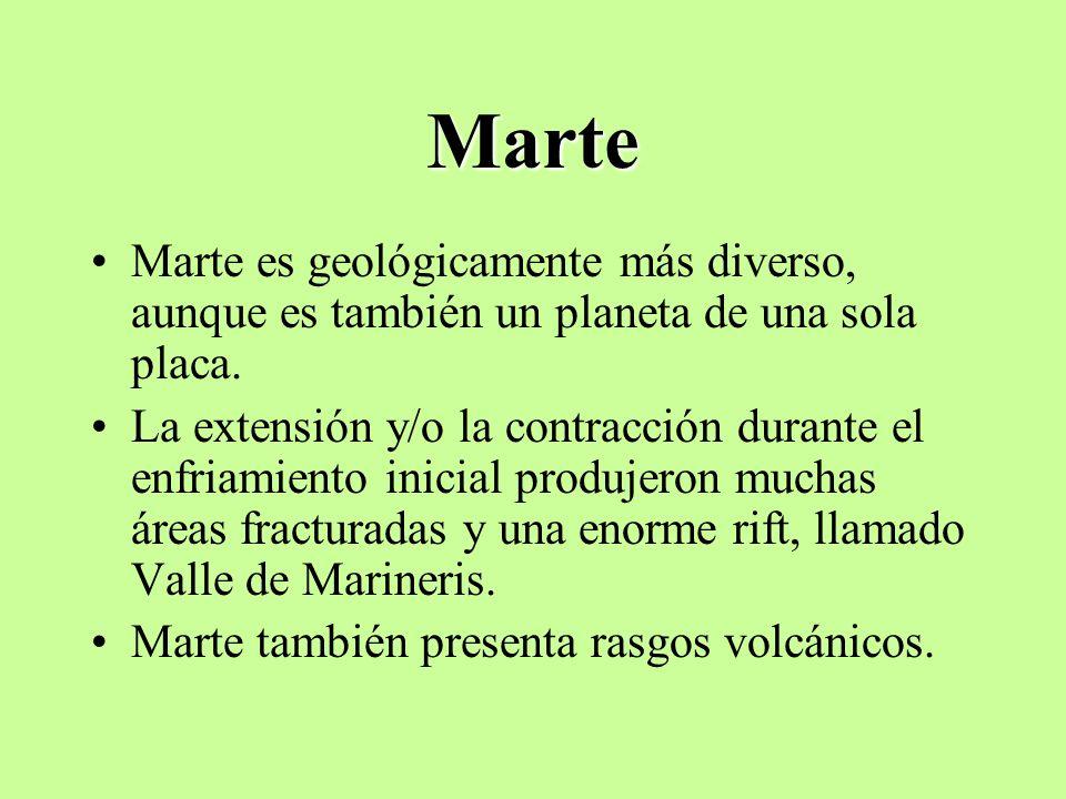 Marte Marte es geológicamente más diverso, aunque es también un planeta de una sola placa. La extensión y/o la contracción durante el enfriamiento ini