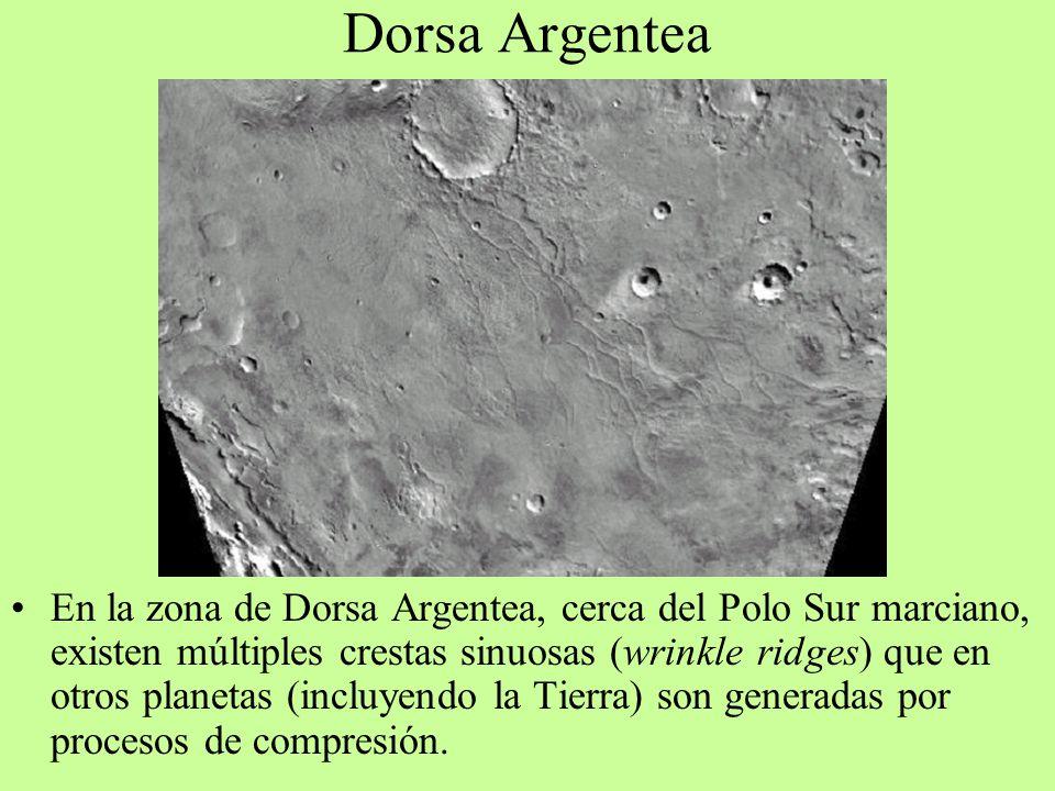 Dorsa Argentea En la zona de Dorsa Argentea, cerca del Polo Sur marciano, existen múltiples crestas sinuosas (wrinkle ridges) que en otros planetas (i