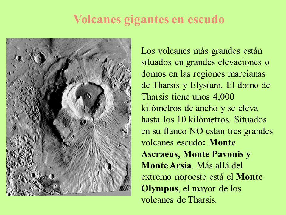 Volcanes gigantes en escudo Los volcanes más grandes están situados en grandes elevaciones o domos en las regiones marcianas de Tharsis y Elysium. El