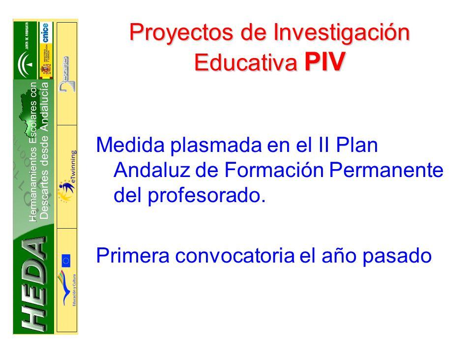 Proyectos de Investigación Educativa PIV Medida plasmada en el II Plan Andaluz de Formación Permanente del profesorado.
