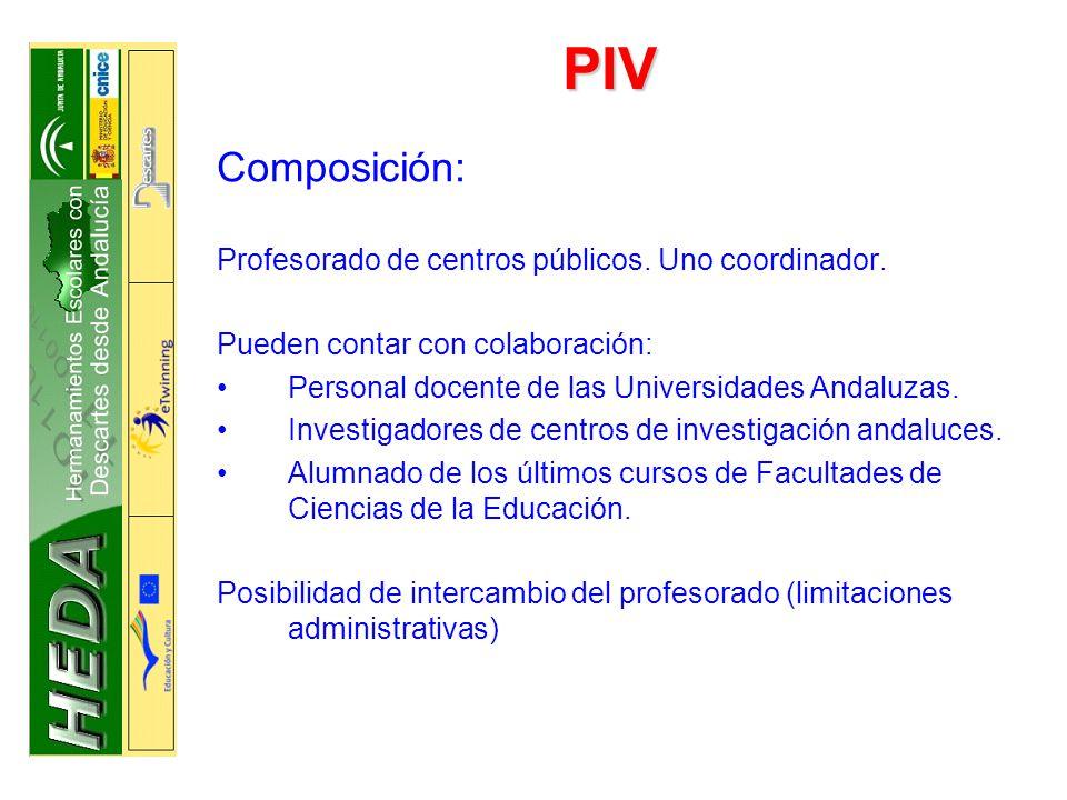 PIV Composición: Profesorado de centros públicos.Uno coordinador.