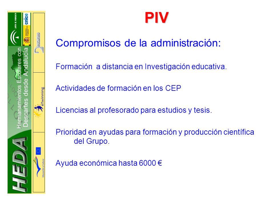 PIV Compromisos de la administración: Formación a distancia en Investigación educativa.