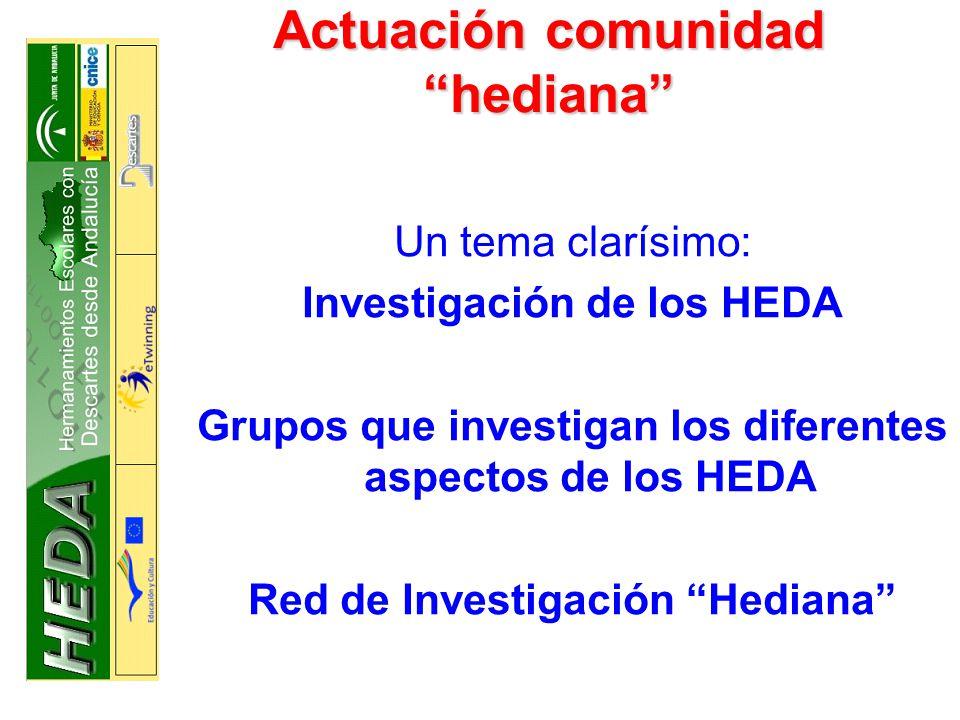 Actuación comunidad hediana Un tema clarísimo: Investigación de los HEDA Grupos que investigan los diferentes aspectos de los HEDA Red de Investigación Hediana