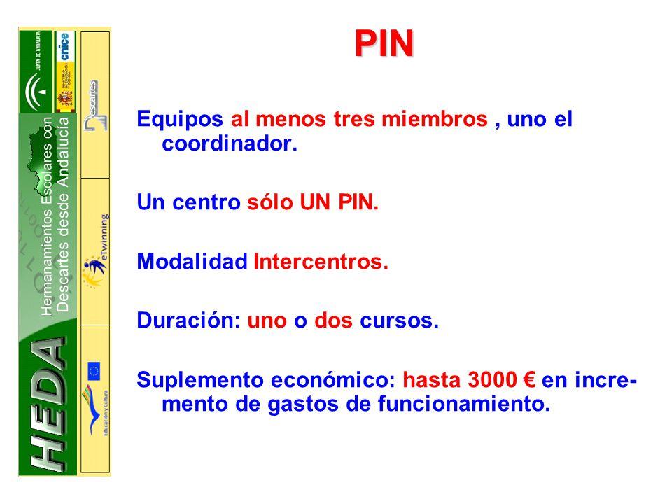 PIN Equipos al menos tres miembros, uno el coordinador.