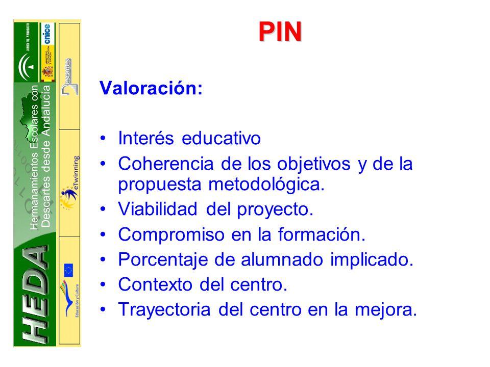 PIN Valoración: Interés educativo Coherencia de los objetivos y de la propuesta metodológica.