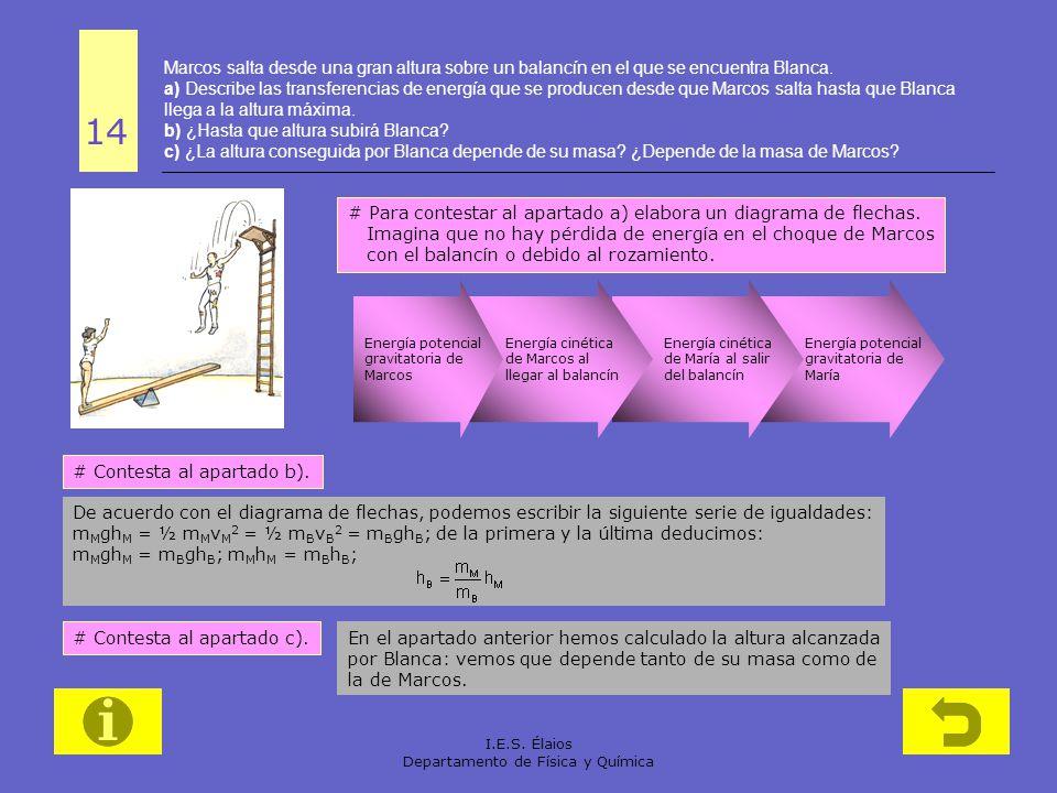 I.E.S. Élaios Departamento de Física y Química Energía potencial gravitatoria de María Energía cinética de María al salir del balancín Energía cinétic