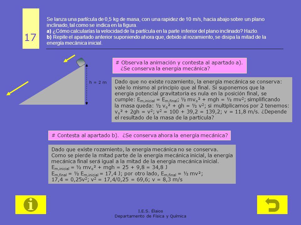 I.E.S. Élaios Departamento de Física y Química Se lanza una partícula de 0,5 kg de masa, con una rapidez de 10 m/s, hacia abajo sobre un plano inclina