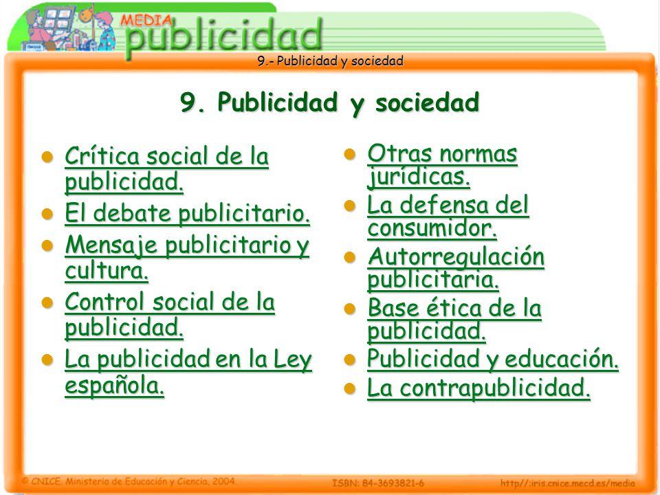 9.- Publicidad y sociedad 9.5 La publicidad en la Ley española Ley 34/1988, de 11 de noviembre : Ley general de publicidad Ley 34/1988, de 11 de noviembre : Ley general de publicidad Respeta los principios del Estatuto de la Publicidad, pero actualiza sus disposiciones.