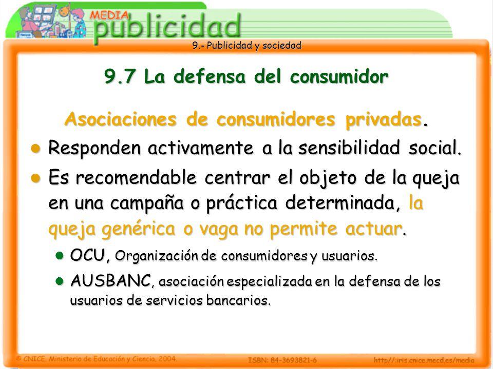 9.- Publicidad y sociedad 9.7 La defensa del consumidor Asociaciones de consumidores privadas.