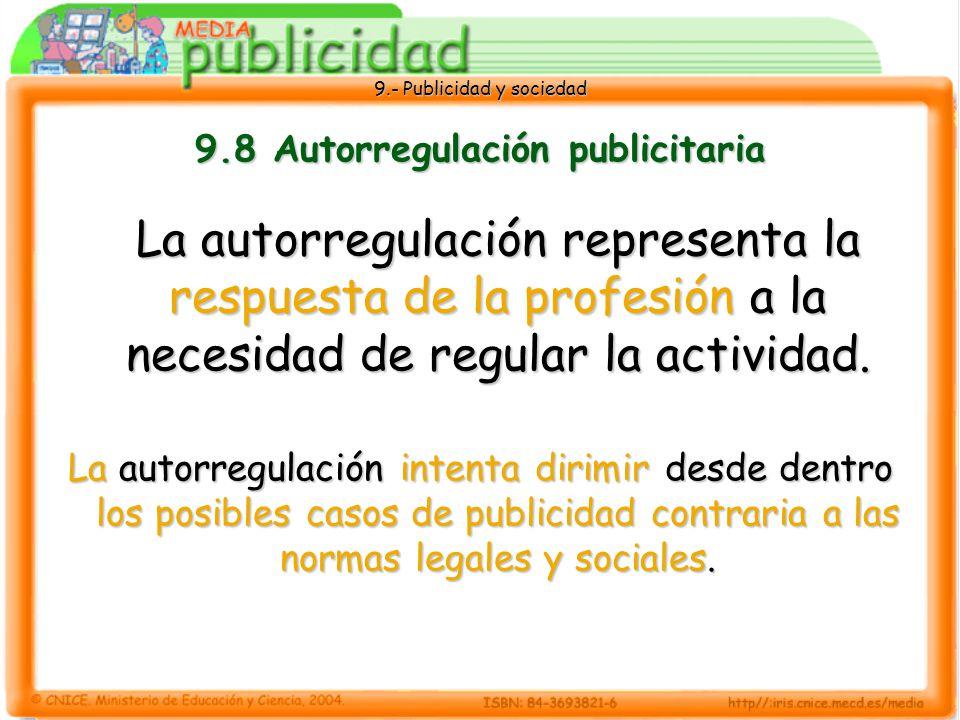 9.- Publicidad y sociedad 9.8 Autorregulación publicitaria La autorregulación representa la respuesta de la profesión a la necesidad de regular la actividad.