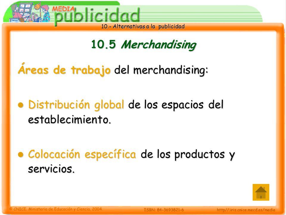 10.- Alternativas a la publicidad 10.5 Merchandising Áreas de trabajo del merchandising: Distribución global de los espacios del establecimiento.
