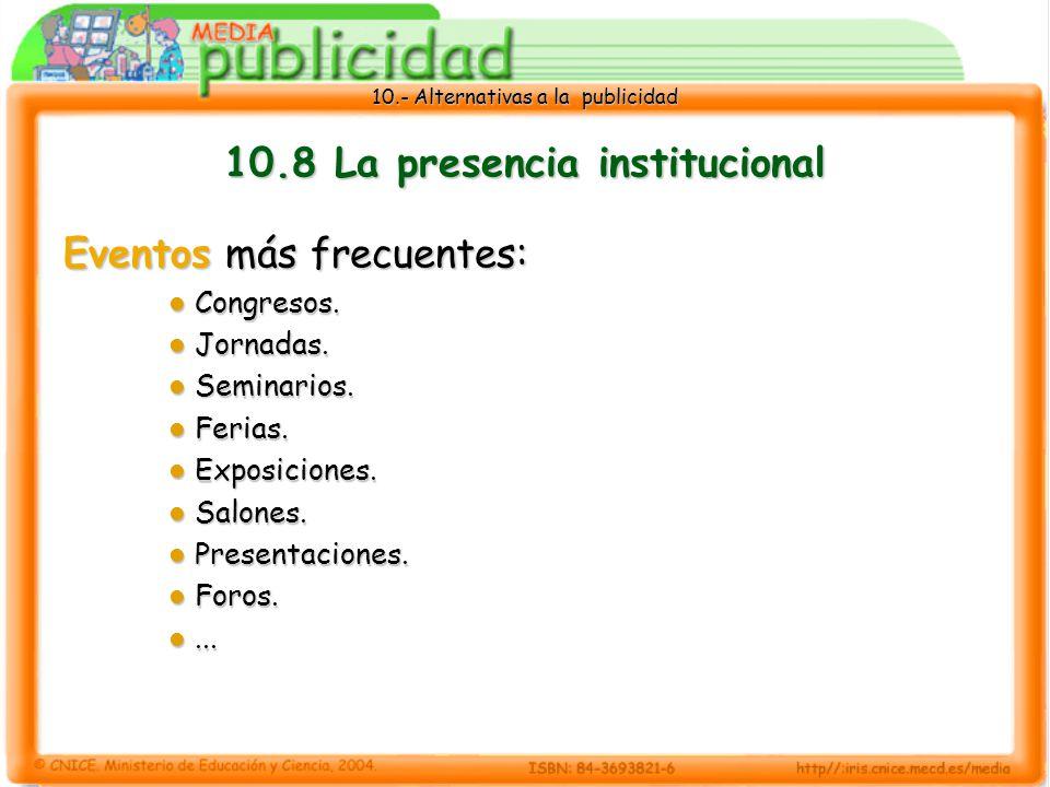 10.- Alternativas a la publicidad 10.8 La presencia institucional Eventos más frecuentes: Congresos.