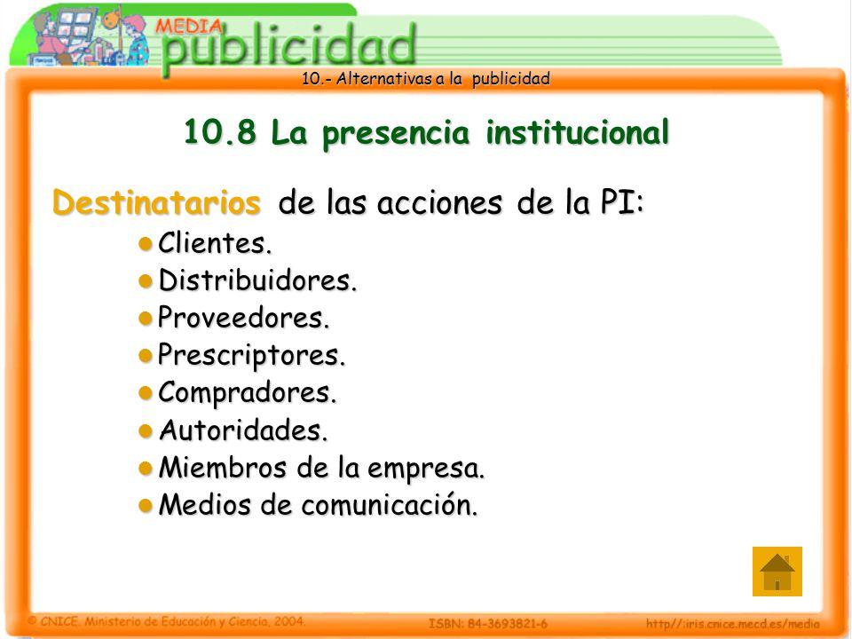 10.- Alternativas a la publicidad 10.8 La presencia institucional Destinatarios de las acciones de la PI: Clientes.
