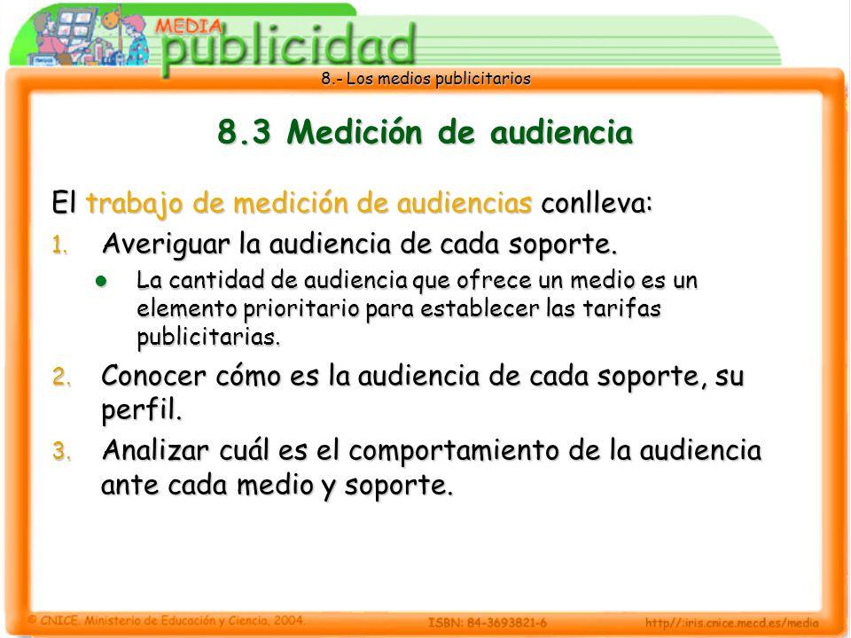 8.- Los medios publicitarios 8.3 Medición de audiencia El trabajo de medición de audiencias conlleva: 1. Averiguar la audiencia de cada soporte. La ca