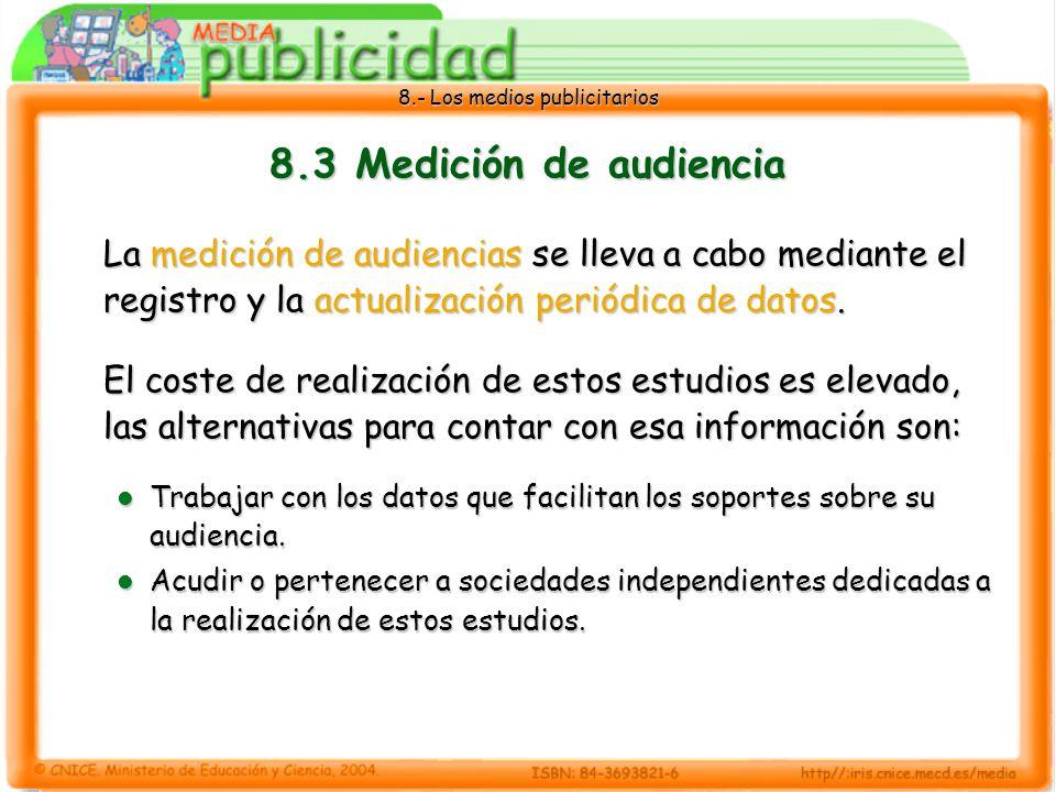 8.- Los medios publicitarios 8.3 Medición de audiencia La medición de audiencias se lleva a cabo mediante el registro y la actualización periódica de