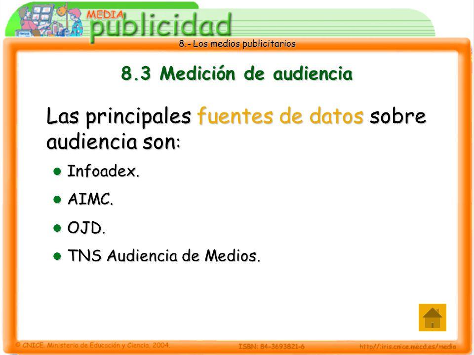 8.- Los medios publicitarios 8.3 Medición de audiencia Las principales fuentes de datos sobre audiencia son : Infoadex. Infoadex. AIMC. AIMC. OJD. OJD