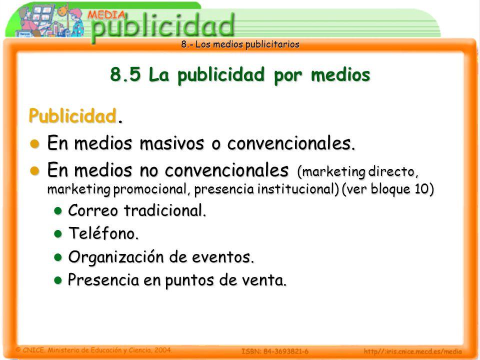 8.- Los medios publicitarios 8.5 La publicidad por medios Publicidad. En medios masivos o convencionales. En medios masivos o convencionales. En medio