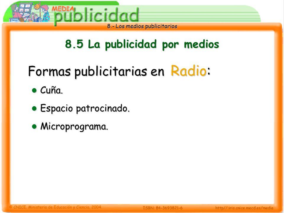 8.- Los medios publicitarios 8.5 La publicidad por medios Formas publicitarias en Radio: Cuña. Cuña. Espacio patrocinado. Espacio patrocinado. Micropr