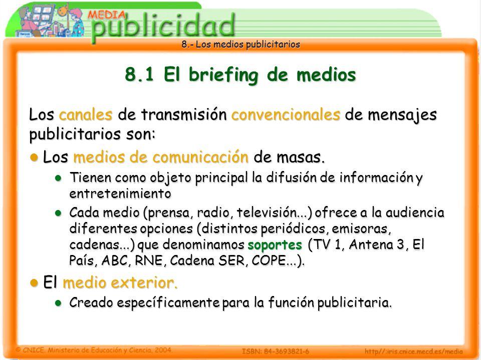 8.- Los medios publicitarios 8.1 El briefing de medios Los canales de transmisión convencionales de mensajes publicitarios son: Los medios de comunica