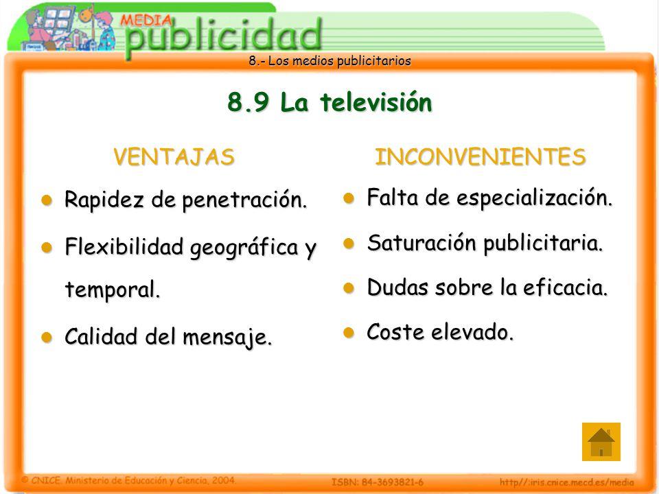 8.- Los medios publicitarios 8.9 La televisión VENTAJAS Rapidez de penetración. Rapidez de penetración. Flexibilidad geográfica y temporal. Flexibilid
