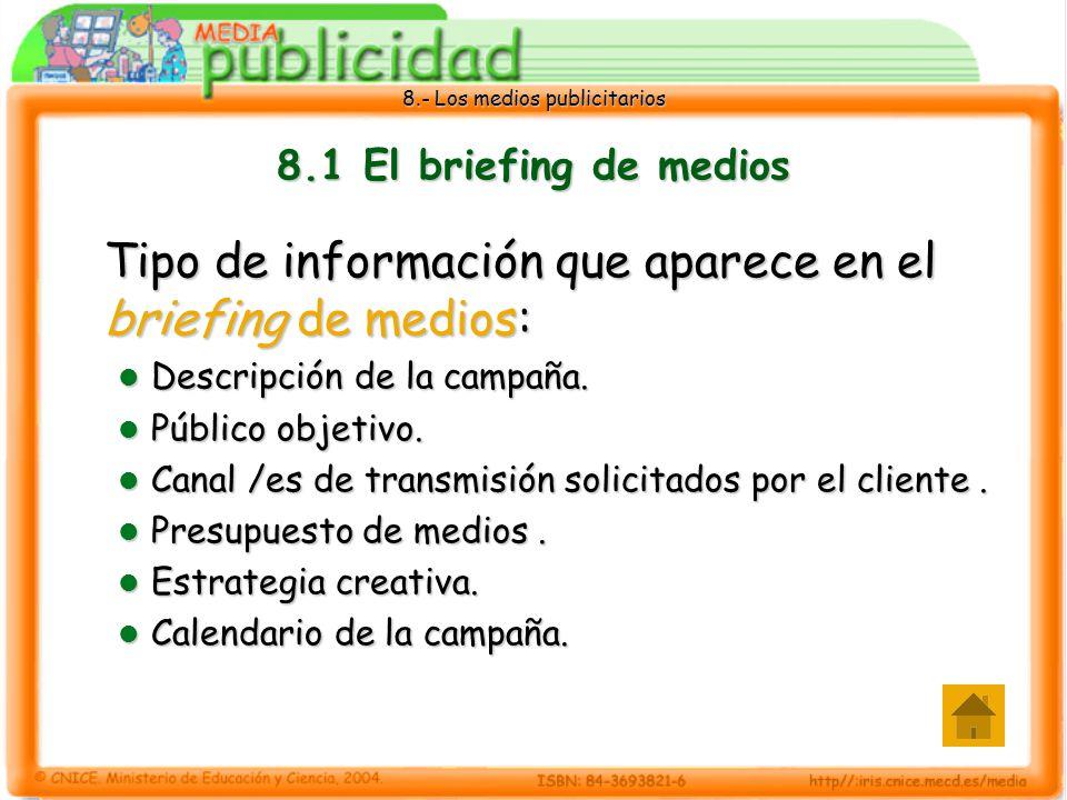 8.- Los medios publicitarios 8.1 El briefing de medios Tipo de información que aparece en el briefing de medios: Descripción de la campaña. Descripció