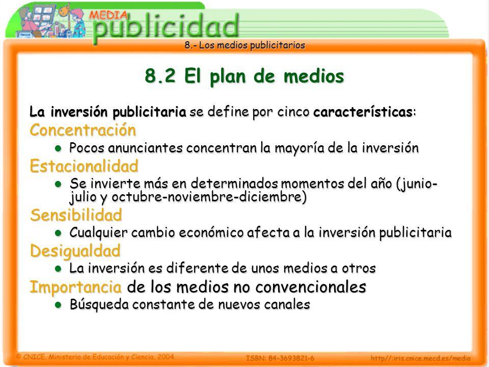 8.- Los medios publicitarios 8.2 El plan de medios La inversión publicitaria se define por cinco características: Concentración Pocos anunciantes conc