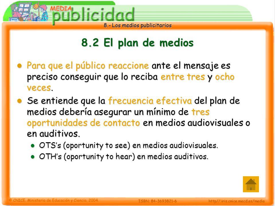 8.- Los medios publicitarios 8.2 El plan de medios Para que el público reaccione ante el mensaje es preciso conseguir que lo reciba entre tres y ocho