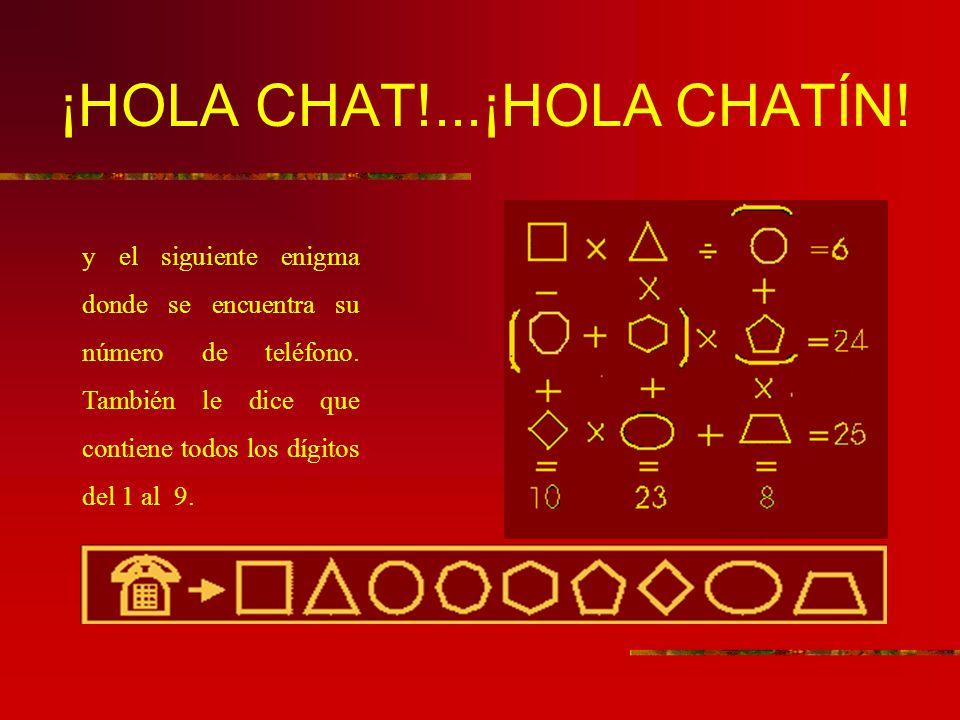 ¡HOLA CHAT!...¡HOLA CHATÍN.y el siguiente enigma donde se encuentra su número de teléfono.