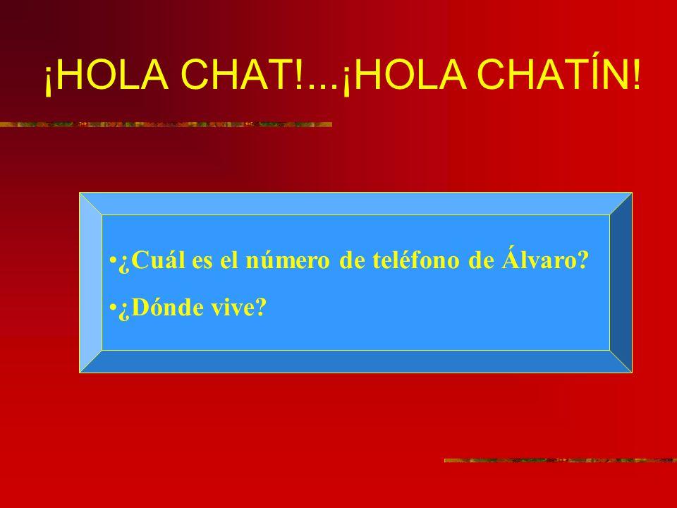 ¡HOLA CHAT!...¡HOLA CHATÍN! ¿Cuál es el número de teléfono de Álvaro? ¿Dónde vive?