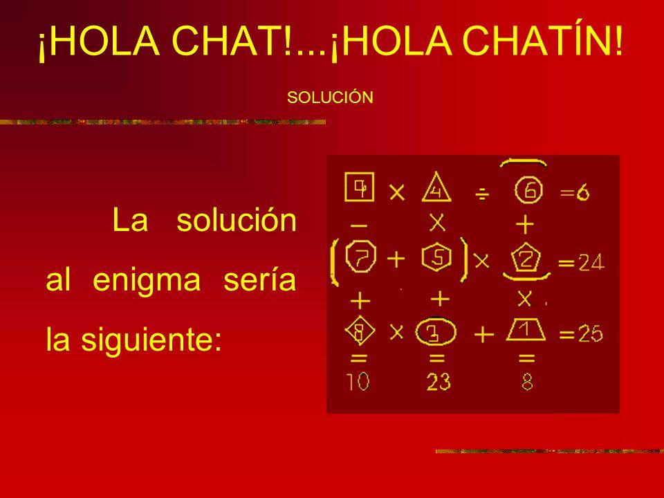 ¡HOLA CHAT!...¡HOLA CHATÍN! SOLUCIÓN La solución al enigma sería la siguiente: