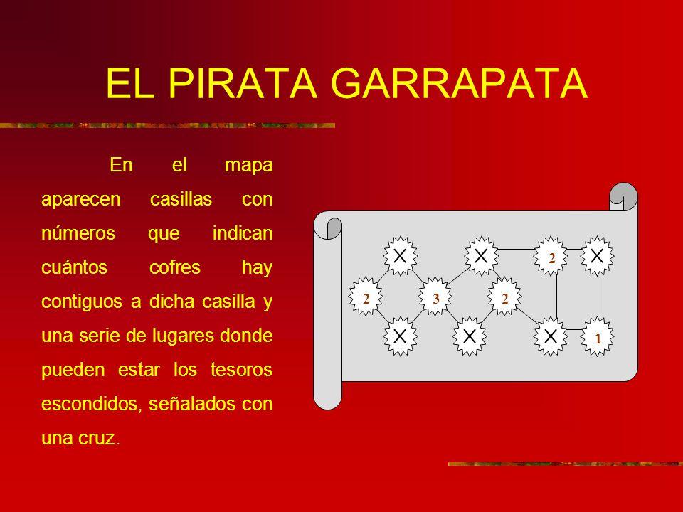 EL PIRATA GARRAPATA En el mapa aparecen casillas con números que indican cuántos cofres hay contiguos a dicha casilla y una serie de lugares donde pueden estar los tesoros escondidos, señalados con una cruz.