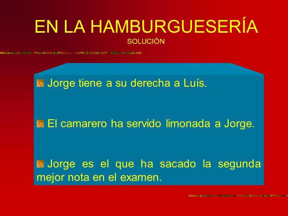 EN LA HAMBURGUESERÍA SOLUCIÓN Jorge tiene a su derecha a Luís.