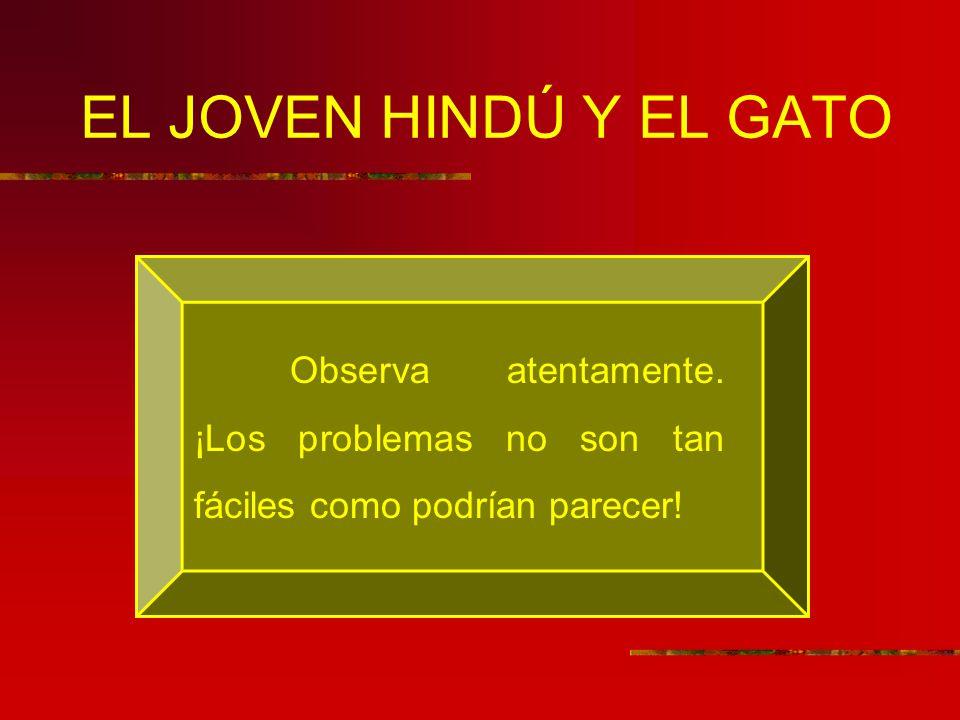 EL JOVEN HINDÚ Y EL GATO Observa atentamente. ¡Los problemas no son tan fáciles como podrían parecer!