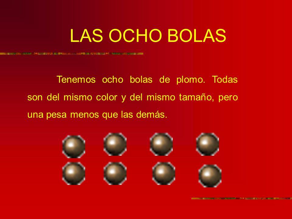 LAS OCHO BOLAS Tenemos ocho bolas de plomo. Todas son del mismo color y del mismo tamaño, pero una pesa menos que las demás.