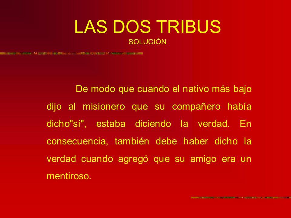LAS DOS TRIBUS SOLUCIÓN De modo que cuando el nativo más bajo dijo al misionero que su compañero había dicho sí , estaba diciendo la verdad.