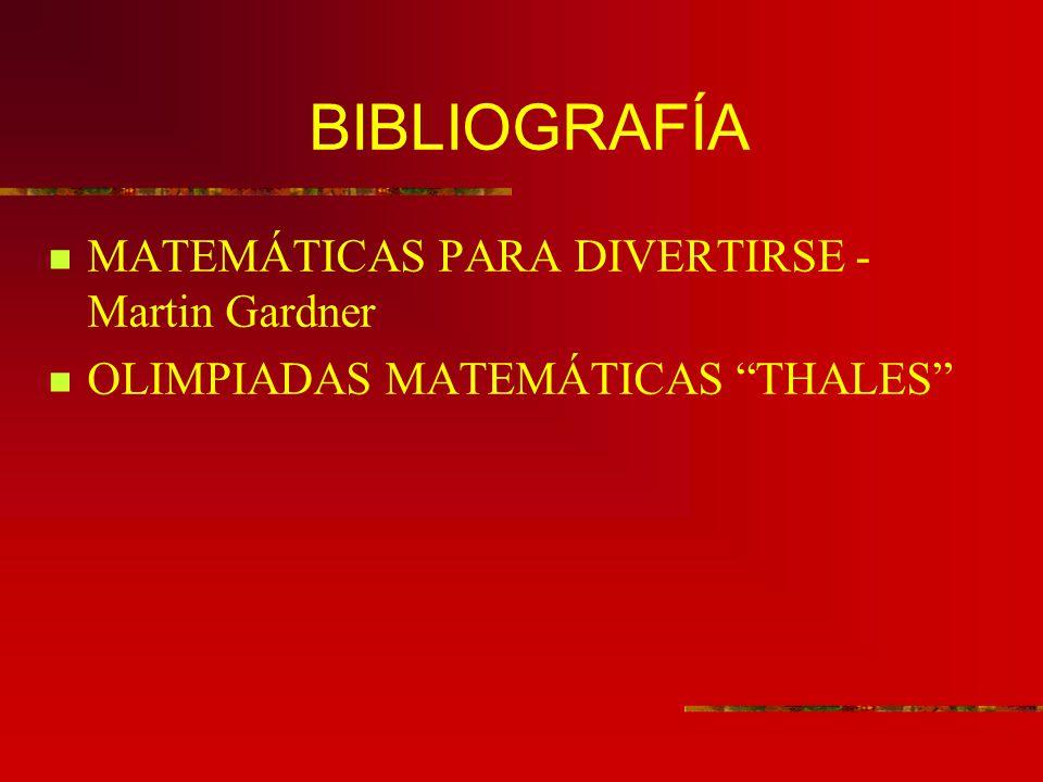 BIBLIOGRAFÍA MATEMÁTICAS PARA DIVERTIRSE - Martin Gardner OLIMPIADAS MATEMÁTICAS THALES