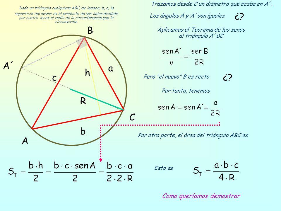 Área del triángulo inscrito en una circunferencia Dado un triángulo cualquiera ABC, de lados a, b, c, la superficie del mismo es el producto de sus la