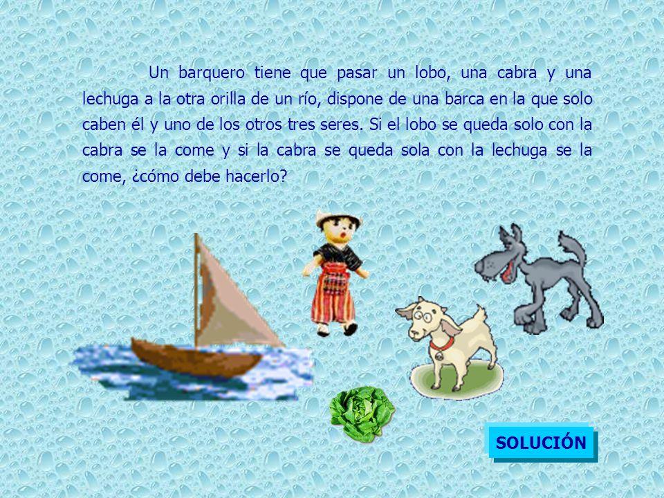 Un barquero tiene que pasar un lobo, una cabra y una lechuga a la otra orilla de un río, dispone de una barca en la que solo caben él y uno de los otr