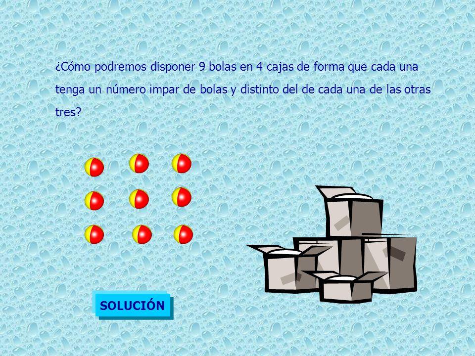 ¿Cómo podremos disponer 9 bolas en 4 cajas de forma que cada una tenga un número impar de bolas y distinto del de cada una de las otras tres? SOLUCIÓN