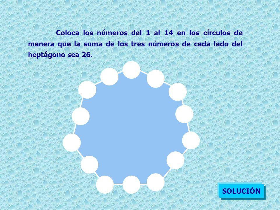 Coloca los números del 1 al 14 en los círculos de manera que la suma de los tres números de cada lado del heptágono sea 26. SOLUCIÓN